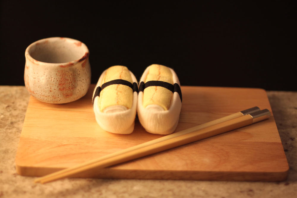 How photogenic these rolled up egg sushi socks are.