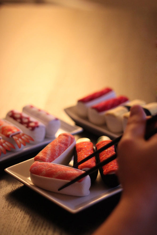 A wonderful assortment of sushi socks is yours to choose from here.