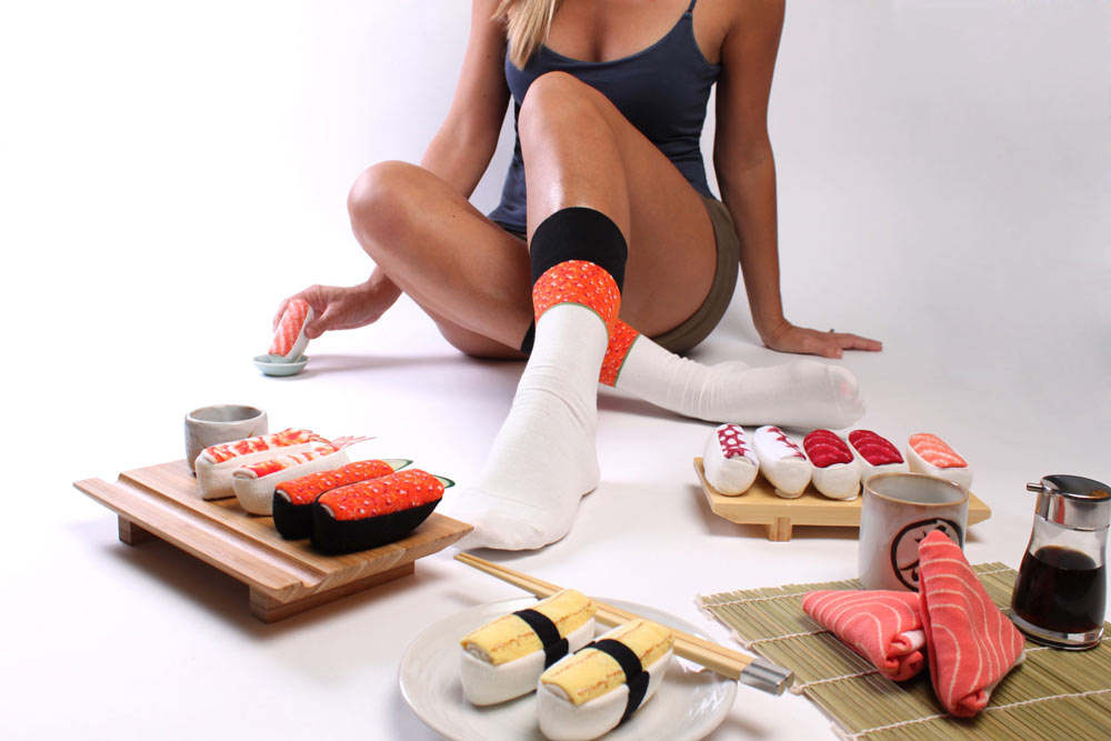 Choose from many different sushi sock styles. Shipped from California.