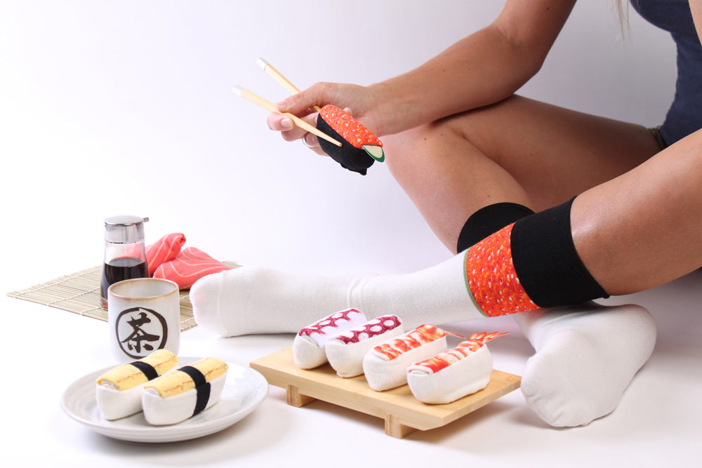 Look at all our sushi socks. LOOK.